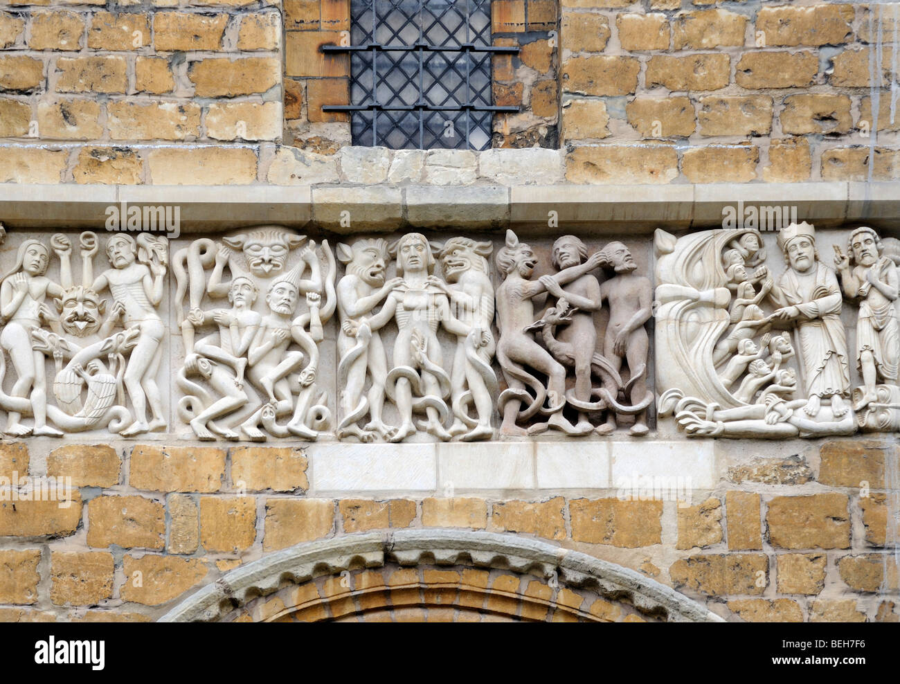 A beautifly carved modern replacement of a mediaeval frieze on the West Front of Lincoln Cathedral. - Stock Image