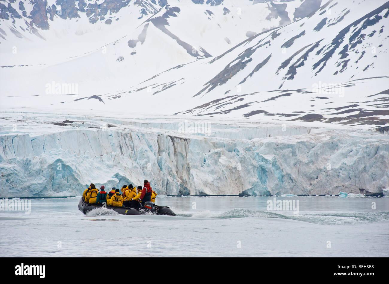 Spitsbergen, Svalbard, 14th of July glacier, zodiac cruise - Stock Image