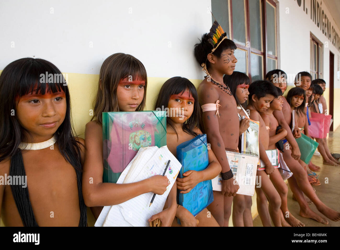 xingu women Children of the Xingu Indian go to school built in the village by the  ministry of