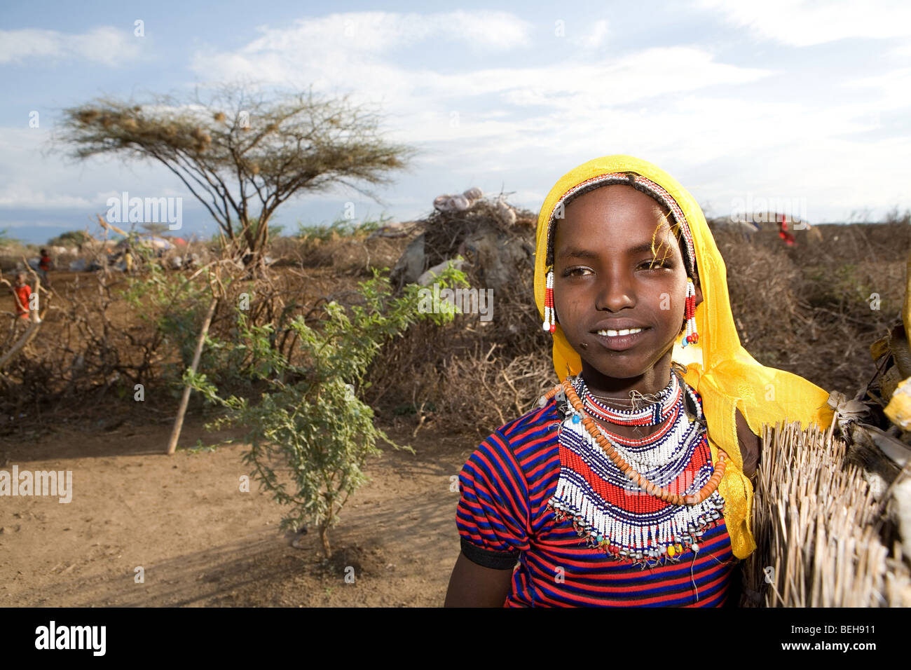 Portrait of a villager in Awash, Afar region in Ethiopia - Stock Image