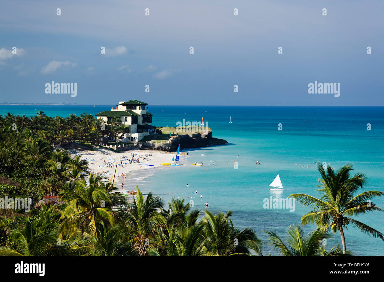 View along sandy beach to Villa Dupont, Varadero, Matanzas, Cuba, West Indies Stock Photo