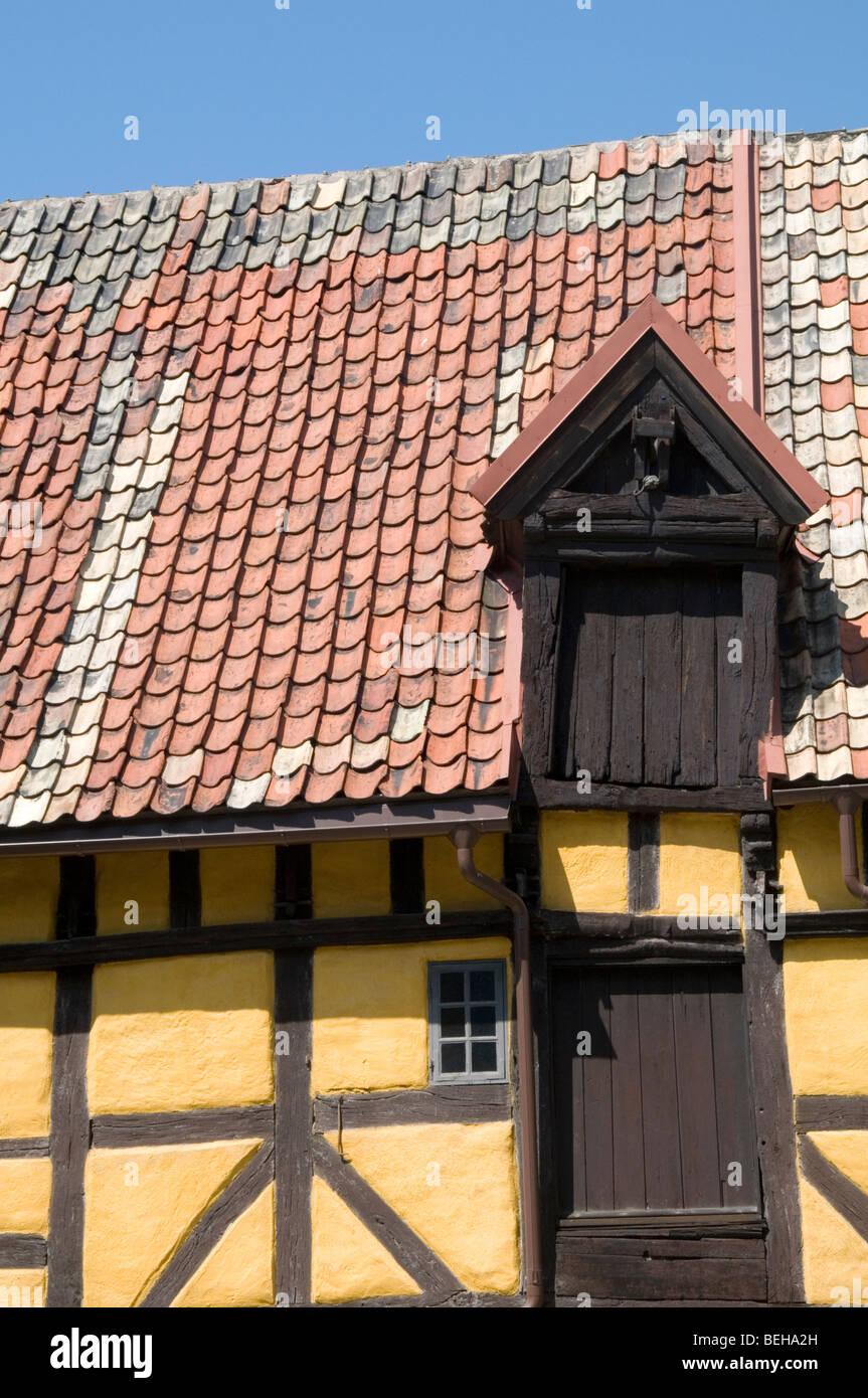 swedish traditional building house home homes medieval sweden Scandinavian Scandinavia summer old wonkey warped - Stock Image