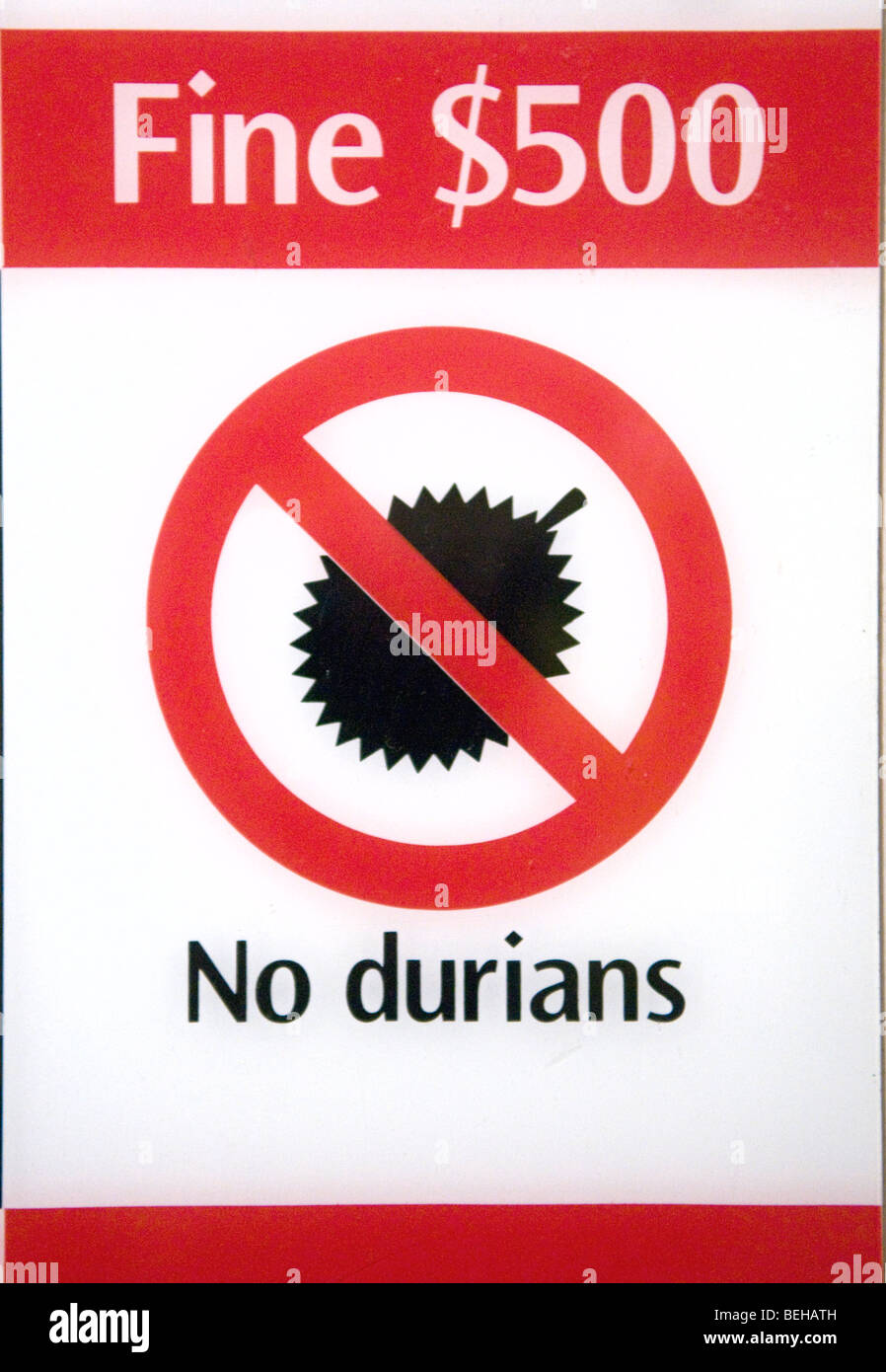 A sign prohibiting durian fruit in Singapore. - Stock Image