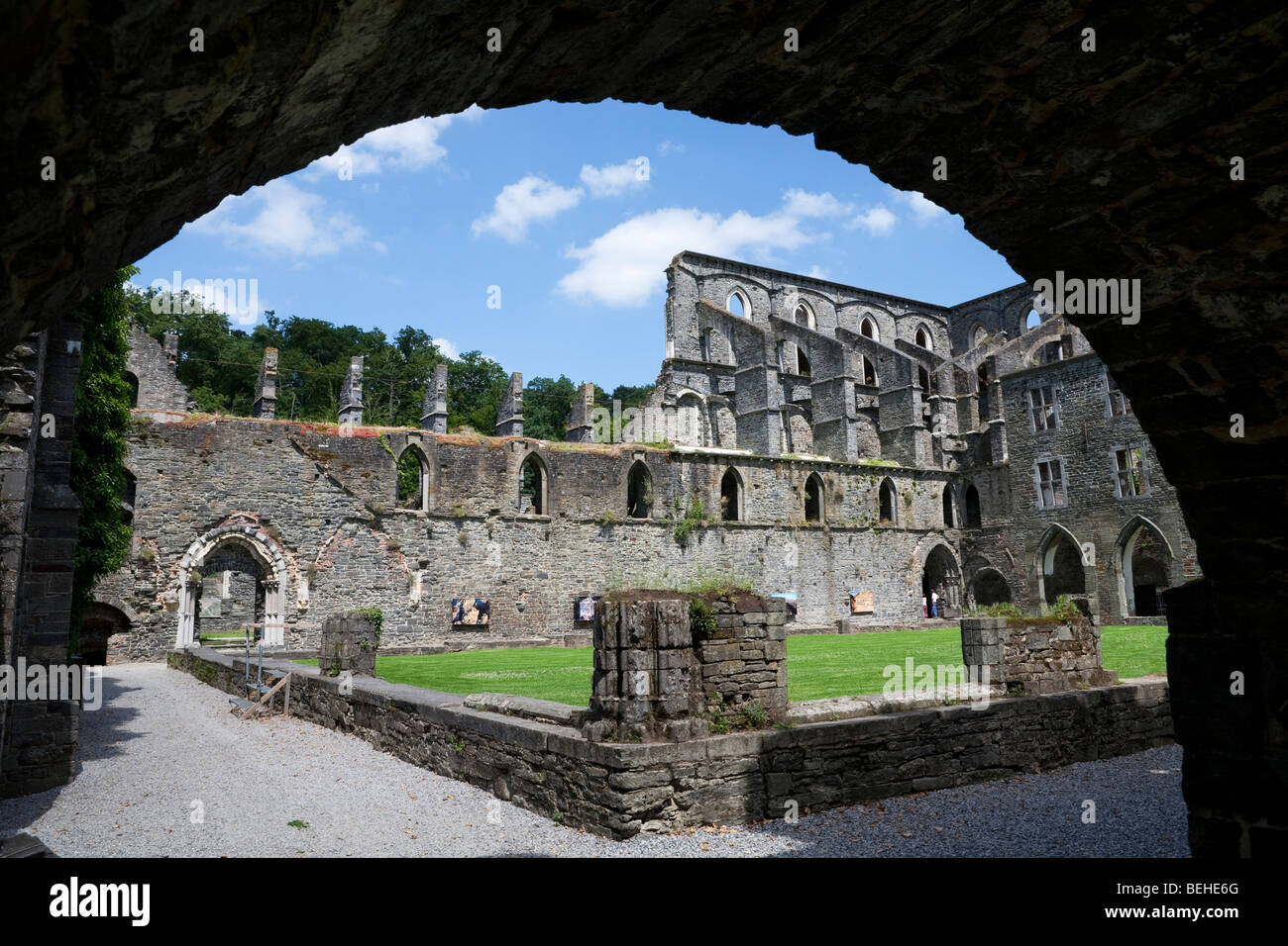 Villers La Ville Abbey. Ruins of Cistercian Abbey through arch. Stock Photo