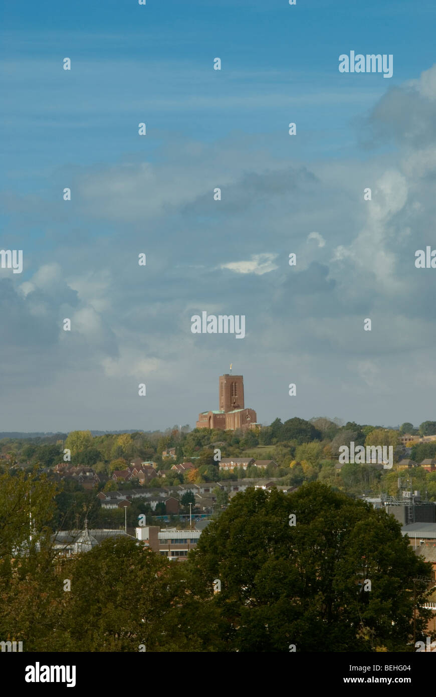 Portrait view of Guildford Cathedral on top of stag hill from above the town centre Stock Photo