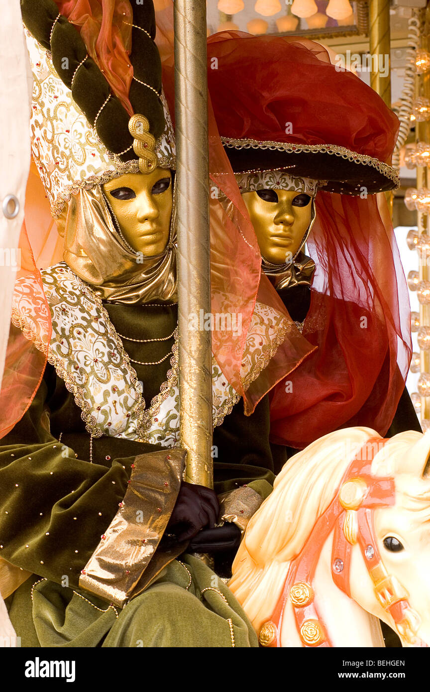 Personages with mysterious appearance to celebrate the traditional Venice Carnival. Venice, Italy. - Stock Image