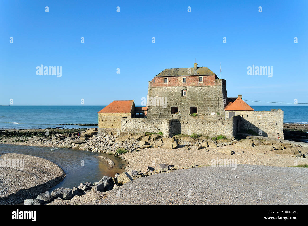 The Vauban tower along the North Sea coast at Ambleteuse, Côte d'Opale, Nord-Pas-de-Calais France - Stock Image