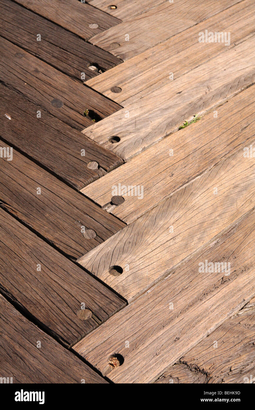 Wooden Decking, Parkay Flooring, Parquetry is a geometric mosaic of wood pieces used for decorative effect - Stock Image