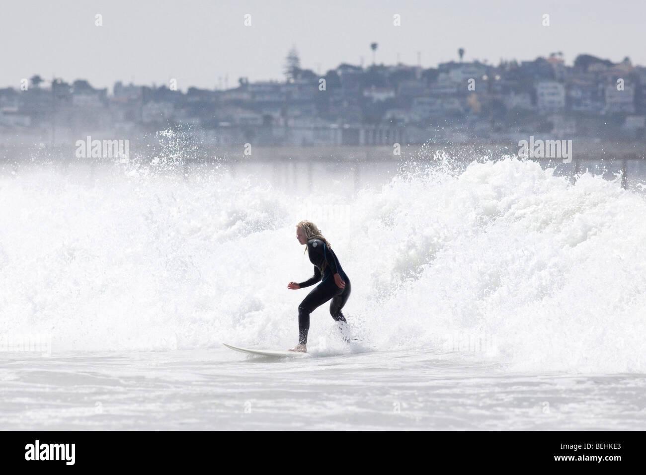 Surfer at Venice Beach, Los Angeles, California, USA - Stock Image