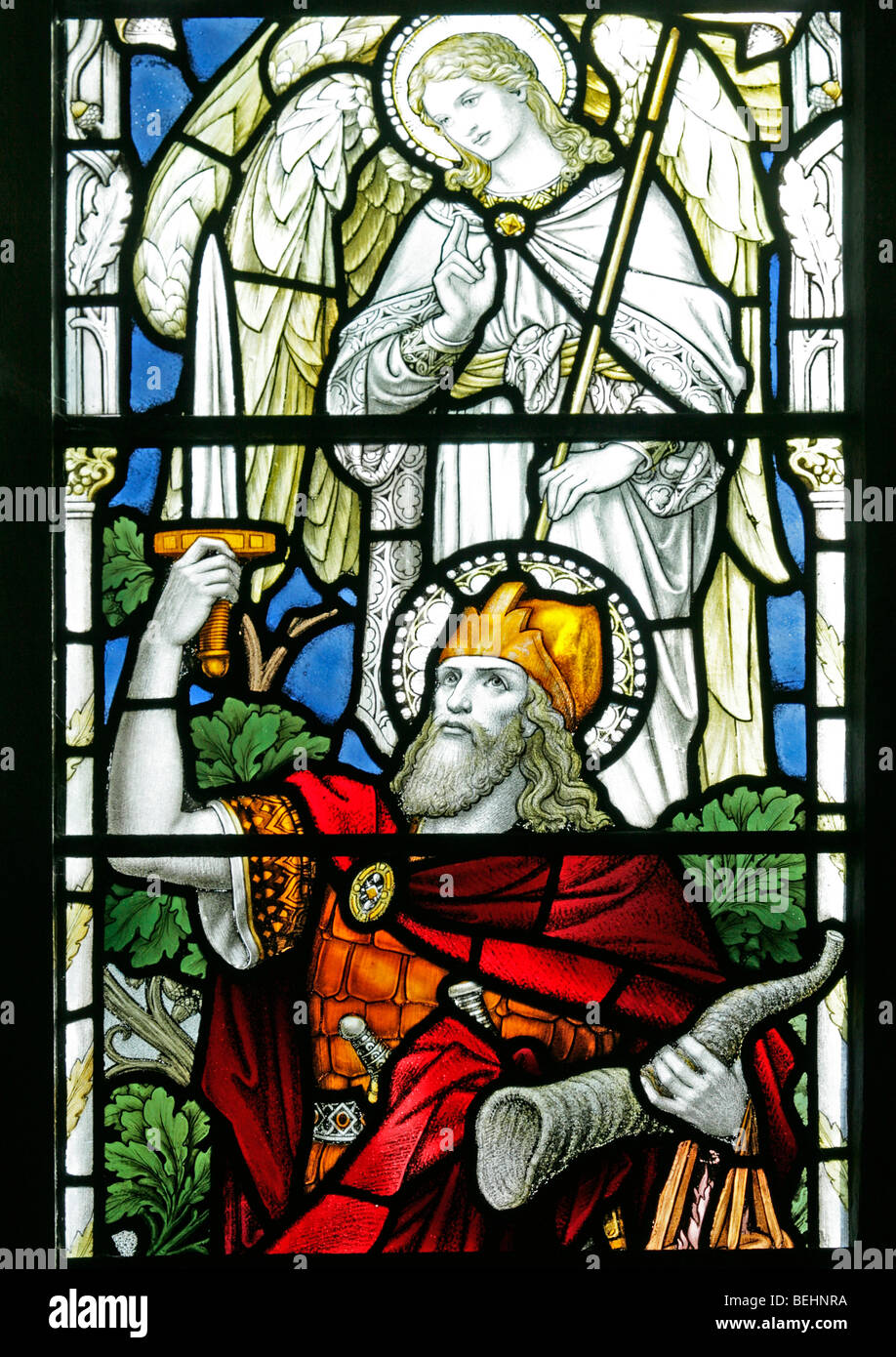 A stained glass window depicting Gideon holding a ram's horn, All Saints Church, Warham, Norfolk - Stock Image