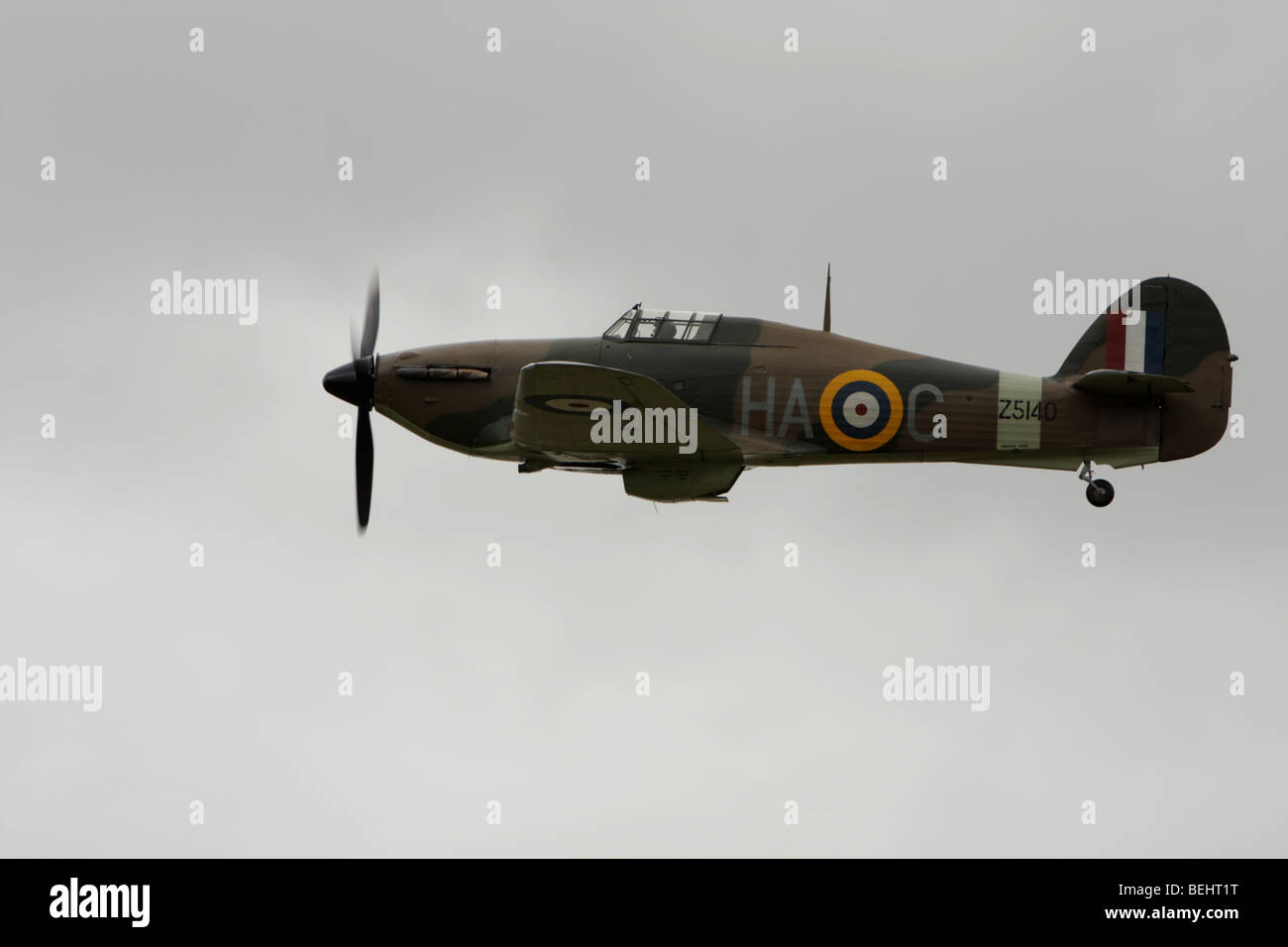 A Hawker Hurricane giving a flypast at IWM Duxford, England. - Stock Image