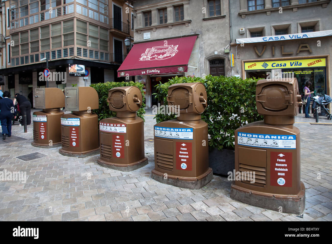 Recycling bins for organic and inorganic waste in centre of Palma Mallorca Spain - Stock Image