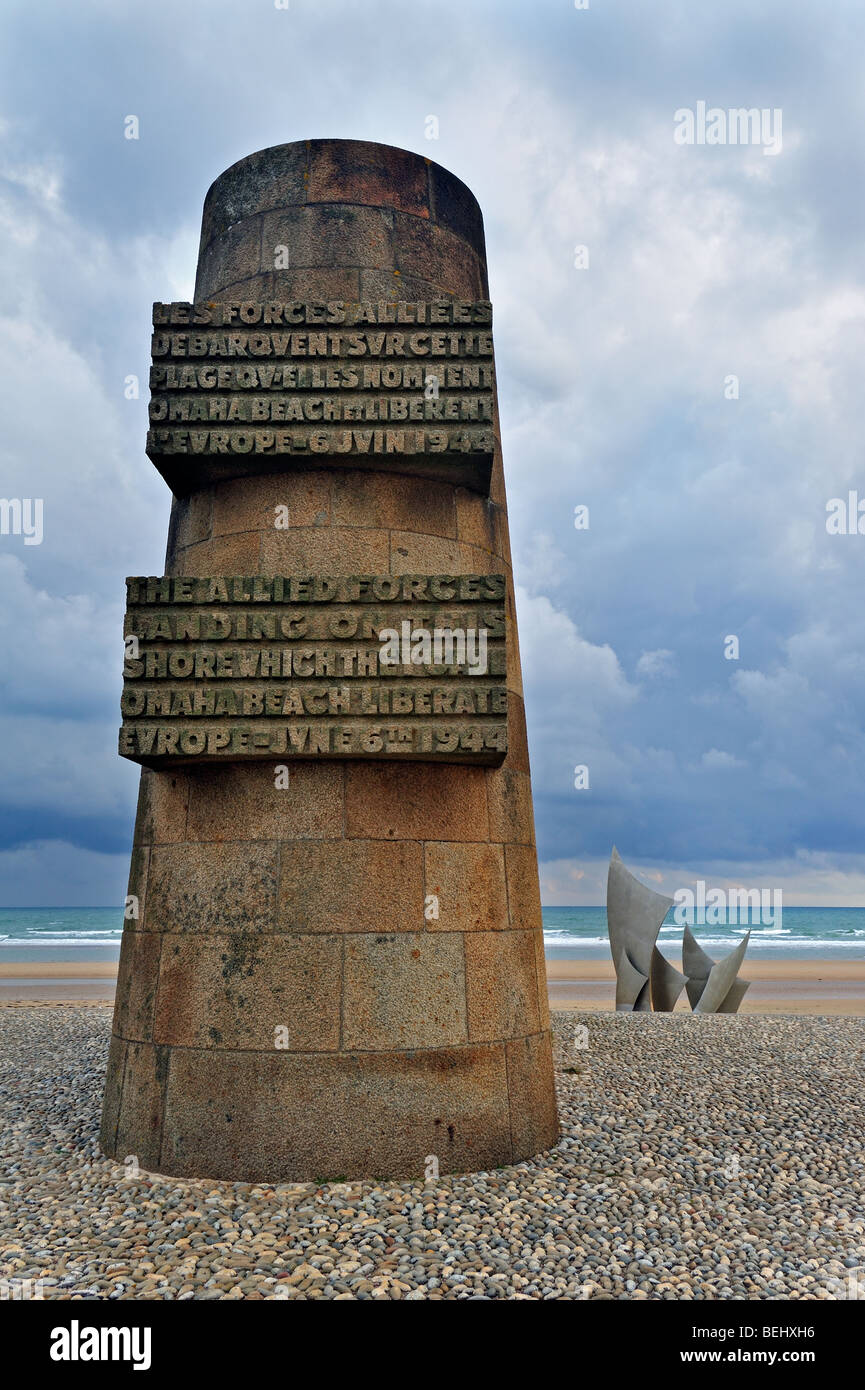 The WW2 American D-Day landing Omaha Beach monument on the