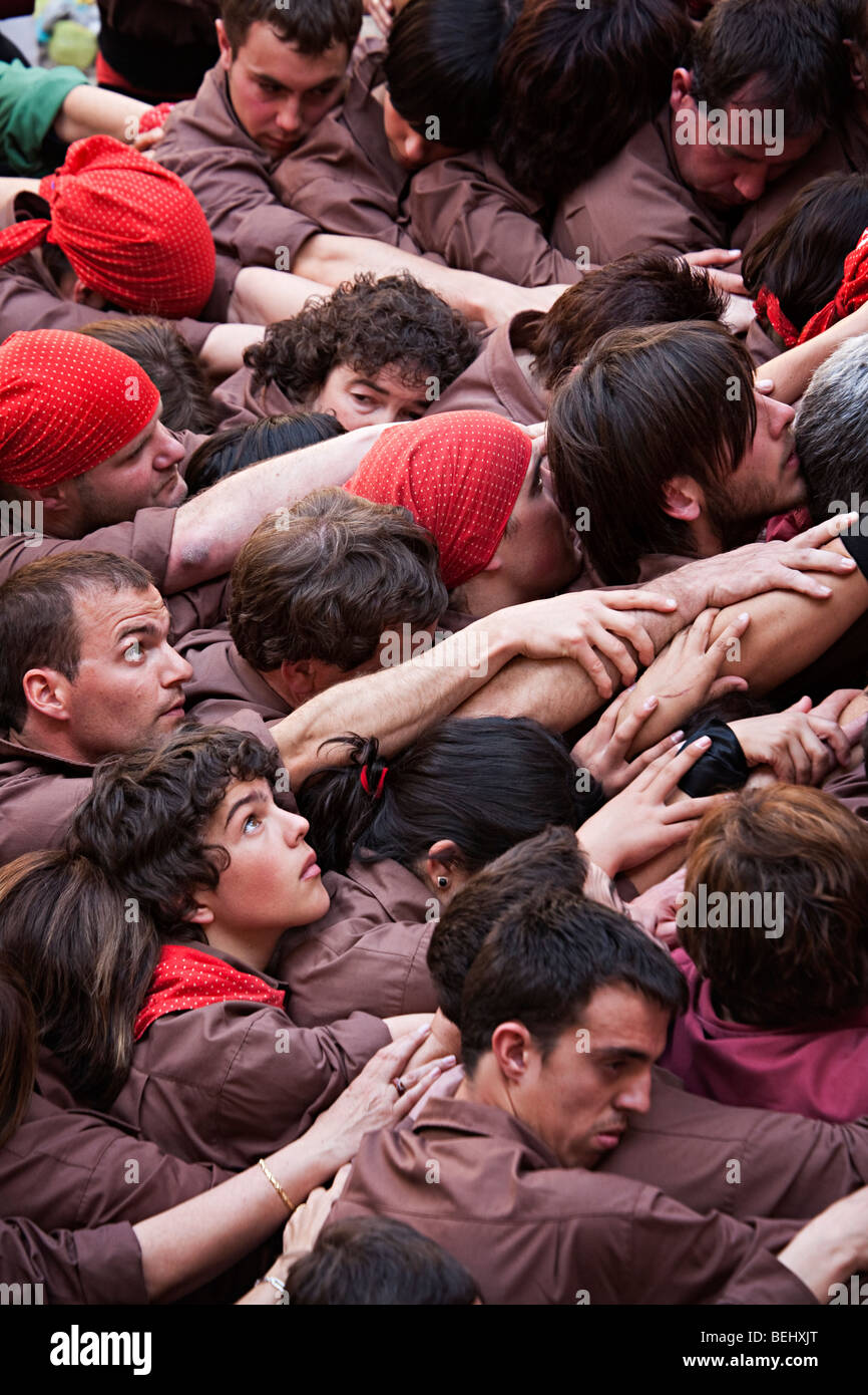 Castellers forming a human pyramid during festival in Bellver Castle Palma Mallorca Spain Stock Photo