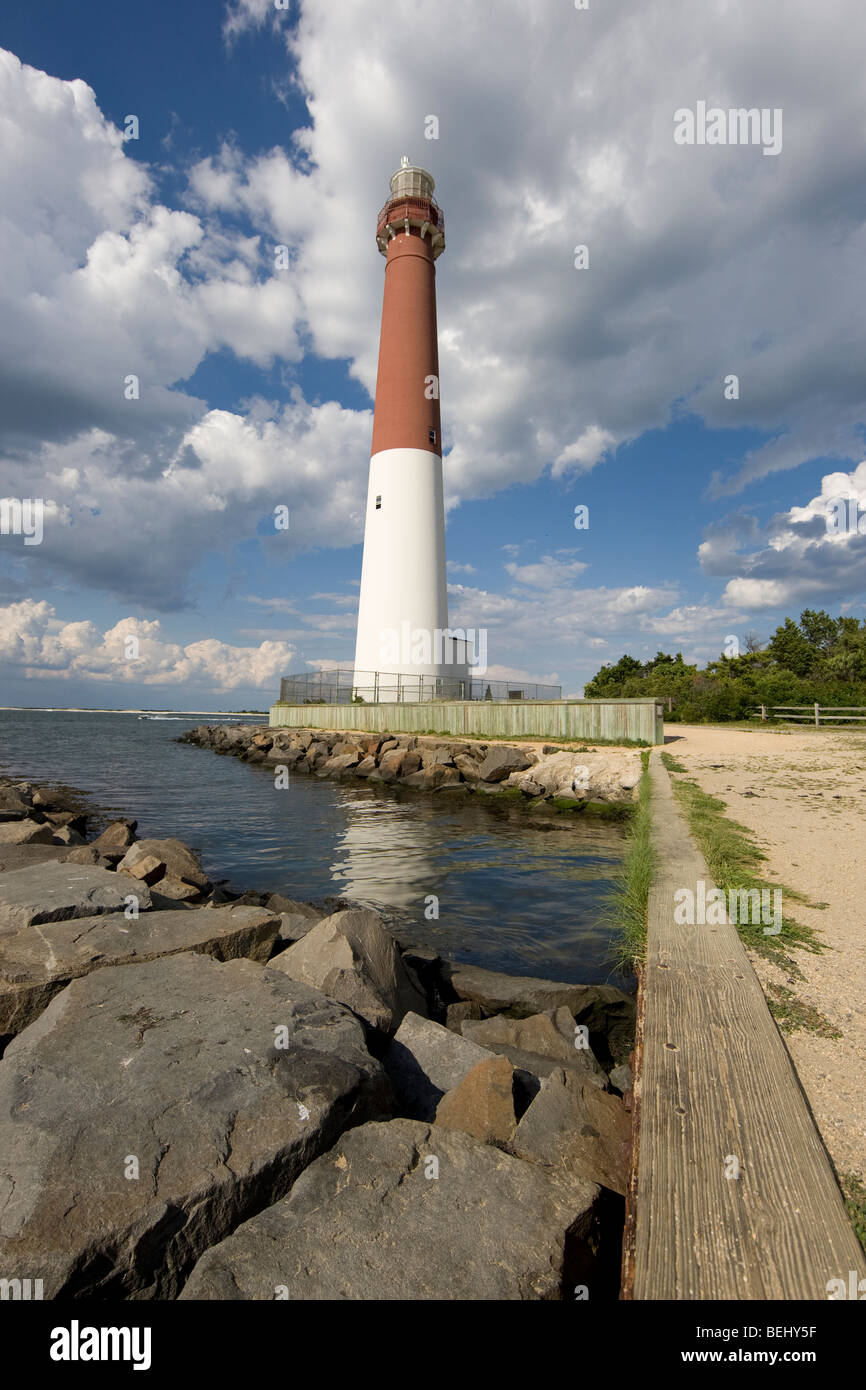 Barnegat Lighthouse in the Barnegat Light section of Long Beach Island in Ocean Township in New Jersey. - Stock Image