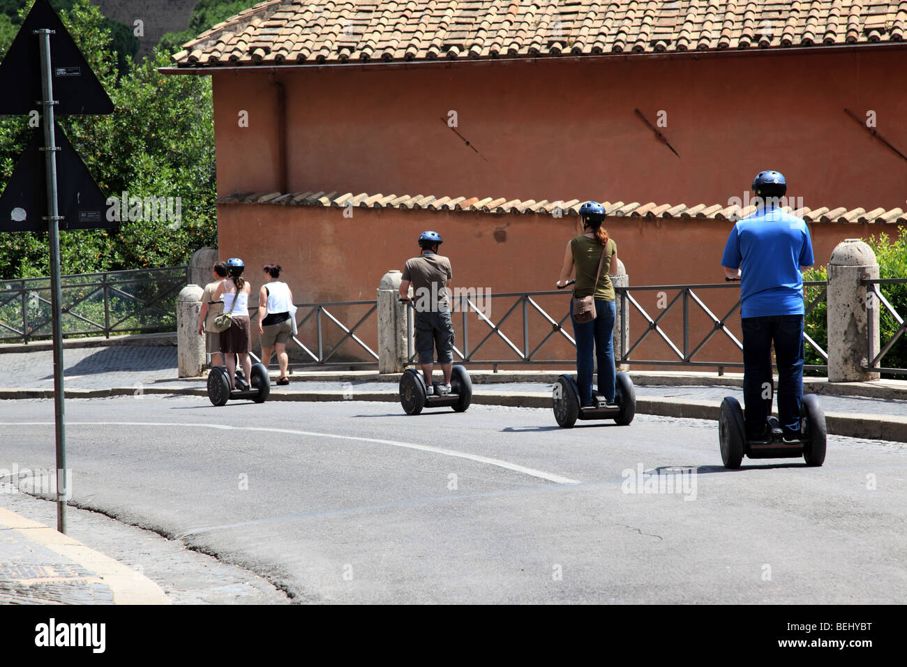 Riders on Segways in Rome - Stock Image