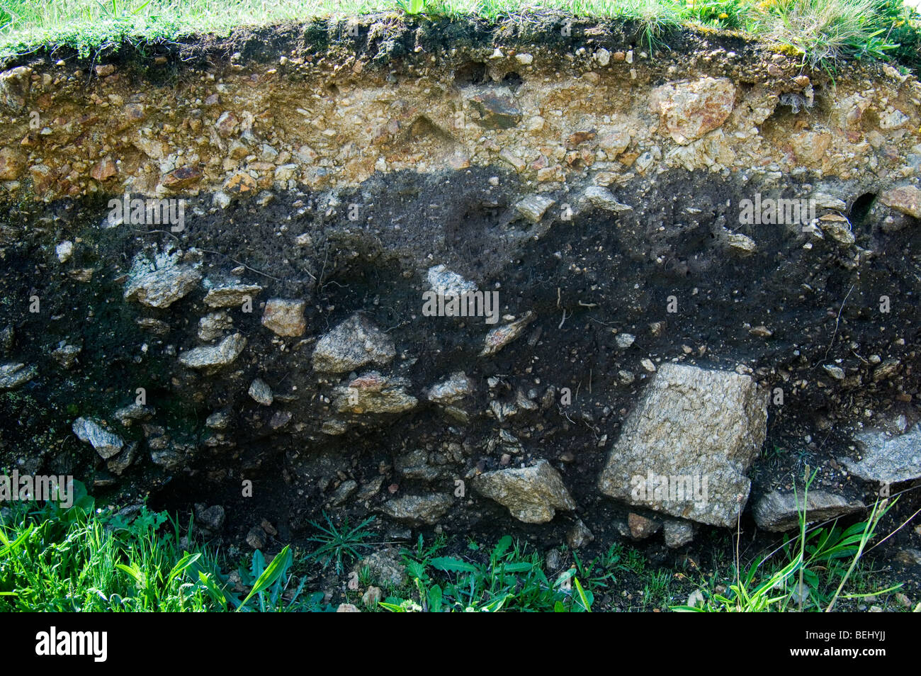Different layers of earth and rock at the archaeological site Menez-Dregan at Pors-Poulhan, Brittany, France - Stock Image