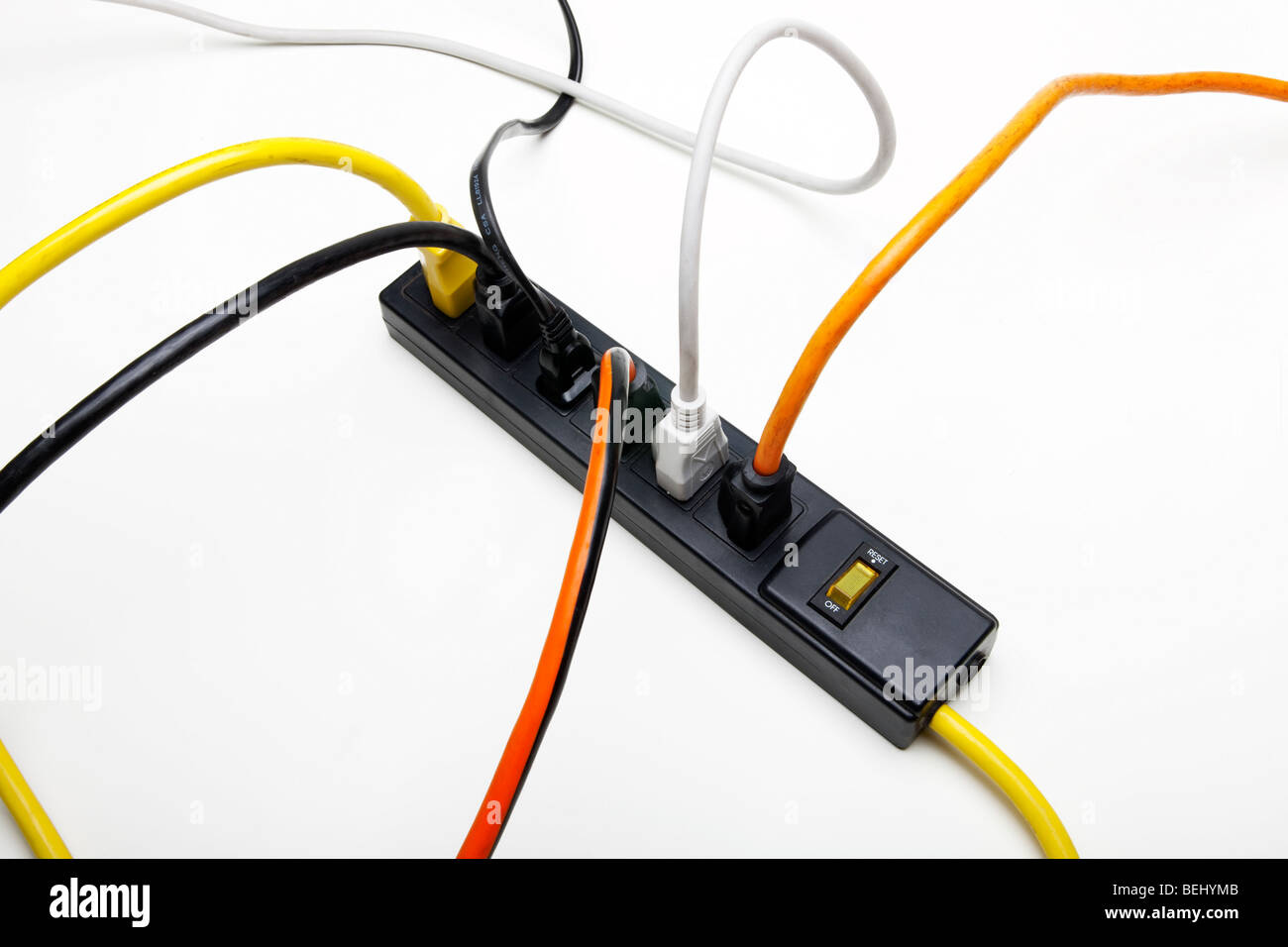 Tangled Electrical Cords Stock Photos Wiring Extension Cord Plug Australia Power Into A Surge Protector Image