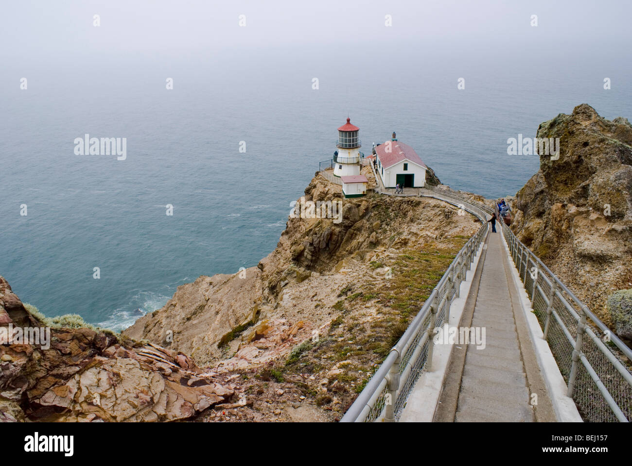 The lighthouse at Point Reyes National Seashore in California. - Stock Image