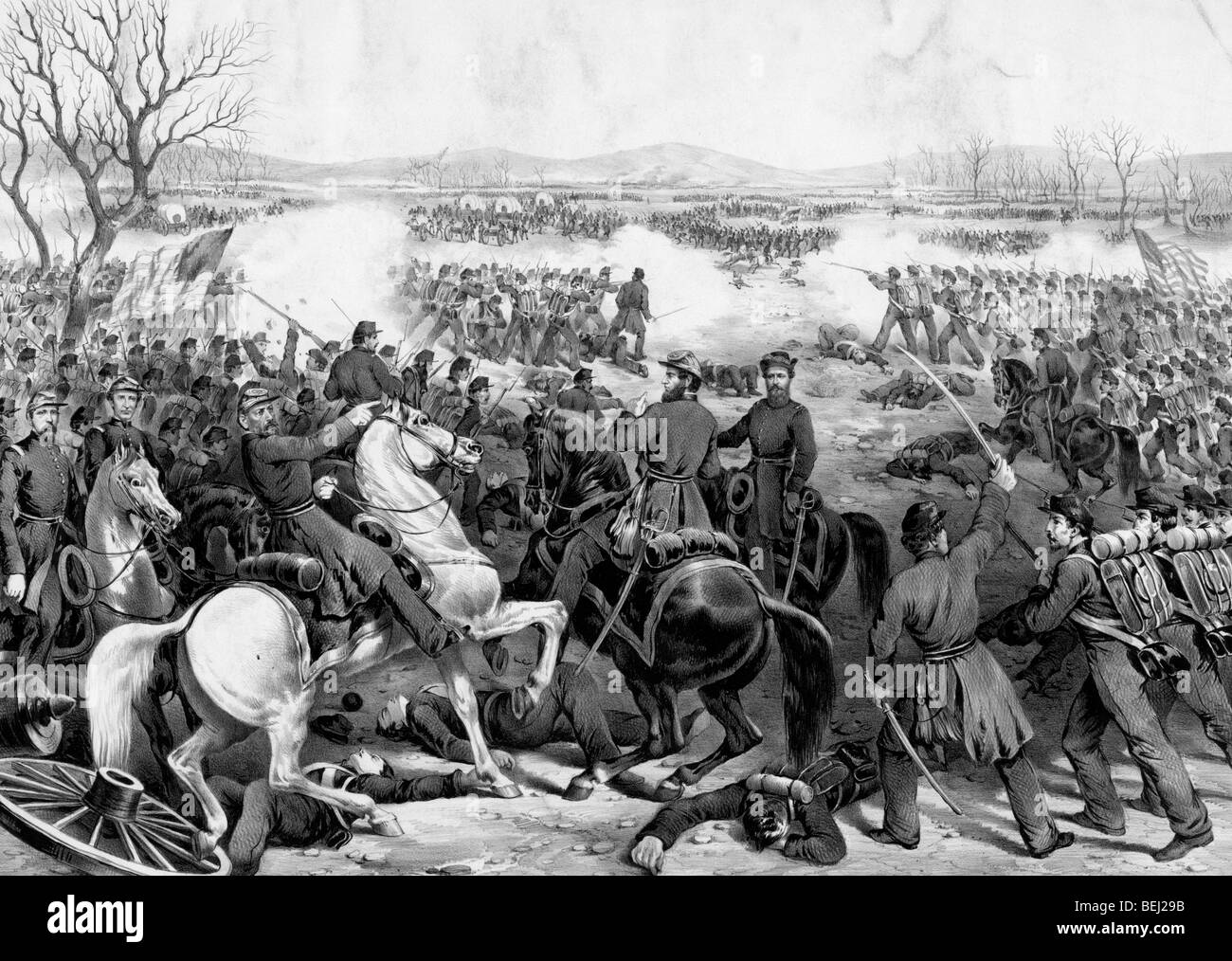 The Battle of Shiloh or Pittsburg Landing, Tennessee during the American Civil War, April 7, 1862 - Stock Image