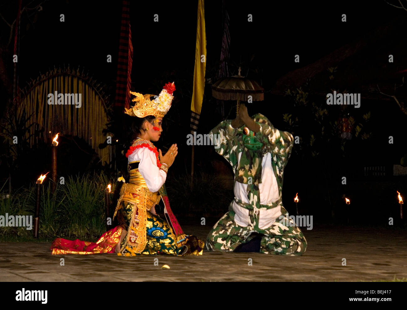 The Princess and the Prince Charming in the Frog dance (Bali). La Princesse et le Prince de la danse de la grenouille - Stock Image