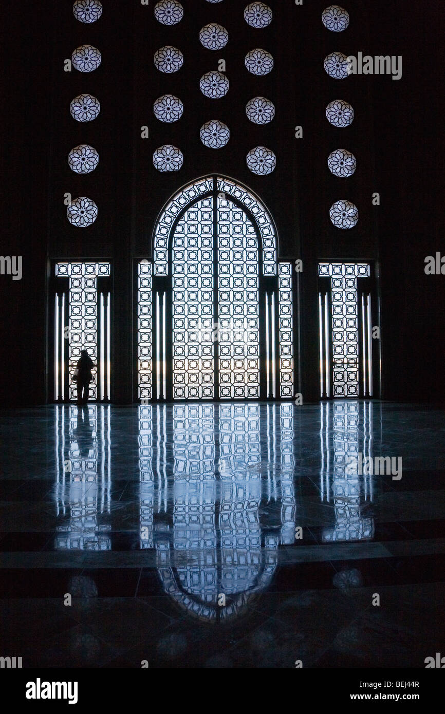 Interior of Hassan II mosque Casablanca Morocco - Stock Image