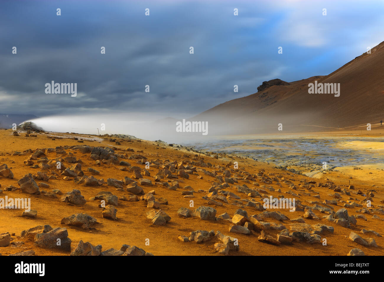 Solfatara fields at Namaskard, Iceland - Stock Image