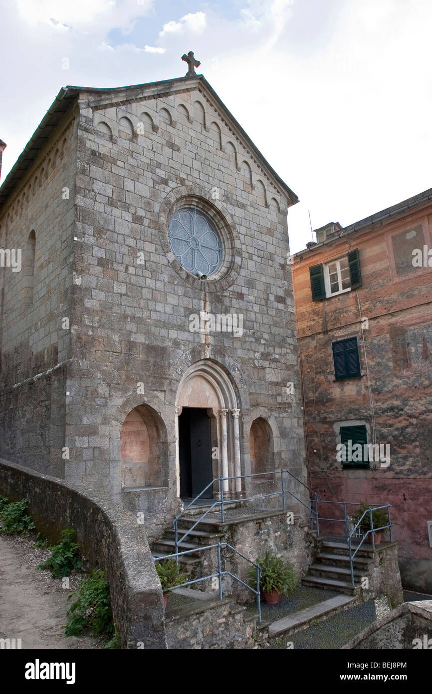 San Nicol? church, S. Rocco di Camogli, Ligury, Italy - Stock Image