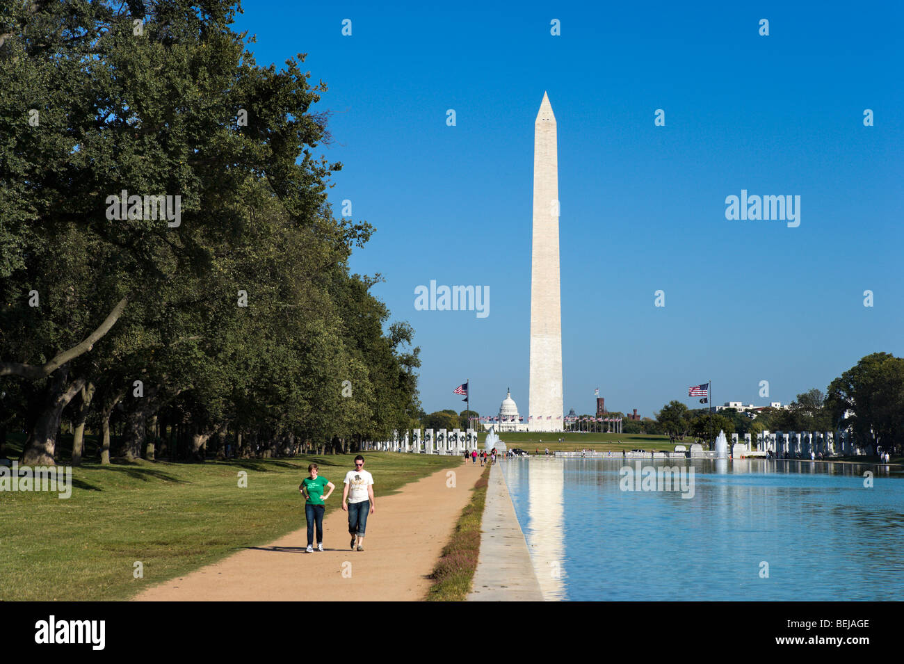The Reflecting Pool with the Washington Monument and Capitol building behind, Washington DC, USA - Stock Image