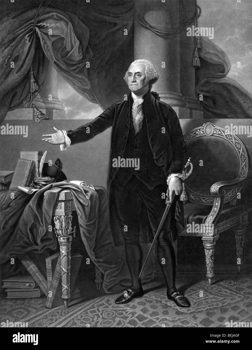 Portrait print circa 1844 of George Washington - the first President of the United States of America (1789 - 1797). Stock Photo