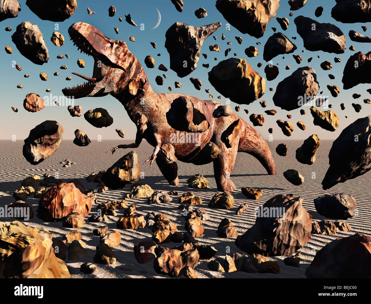 A Fossilized T Rex Dinosaur,Coming To Life. - Stock Image
