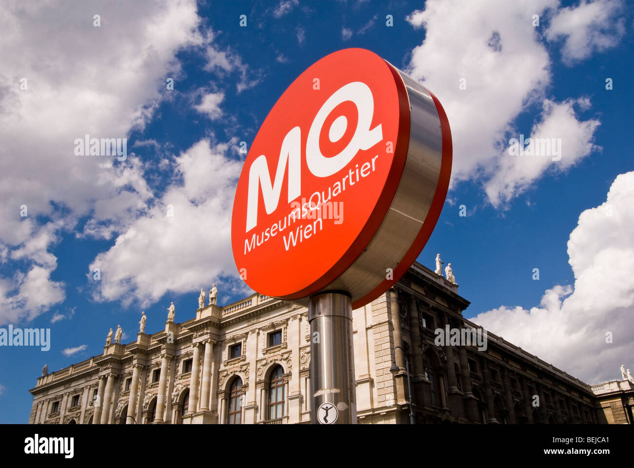 Sign for the Museums Quartier, Vienna, Austria - Stock Image