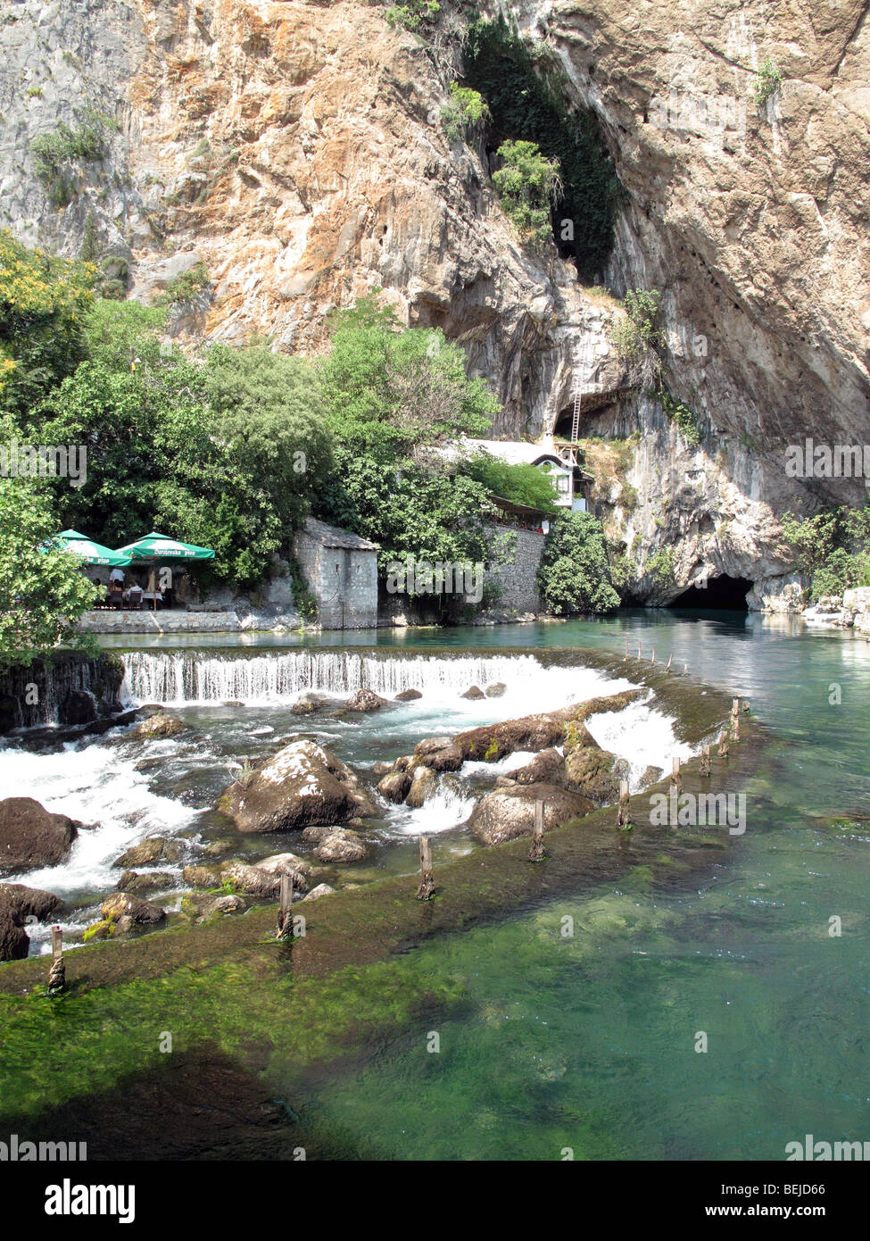 Bosnia and Herzegovina, Blagaj, outing spot on the banks of Buna river. About 15km southeast of town Mostar. - Stock Image
