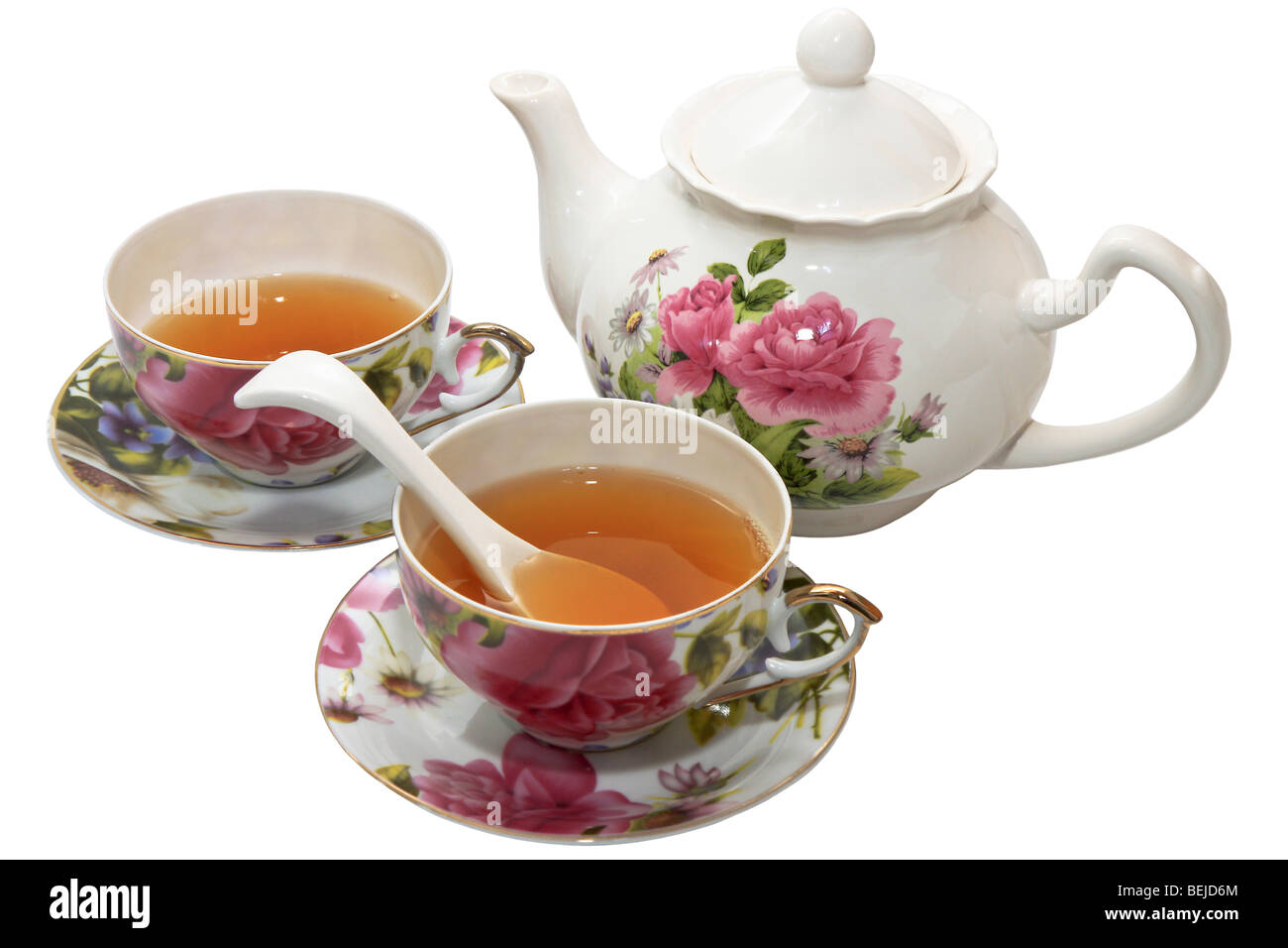 Two cups of tea with teapot for friendly conversation Stock Photo