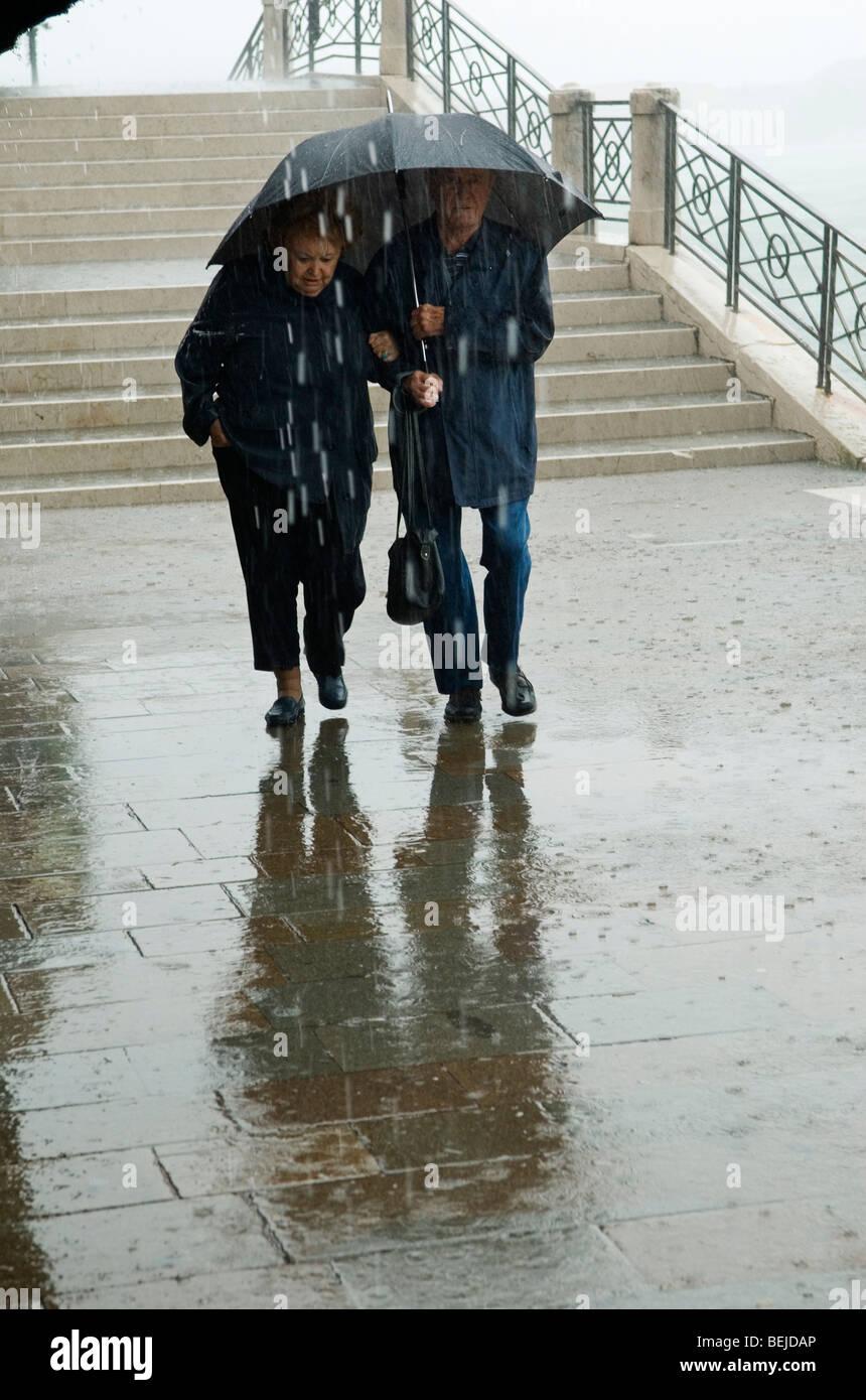 Bad weather rain HOMER SYKES - Stock Image