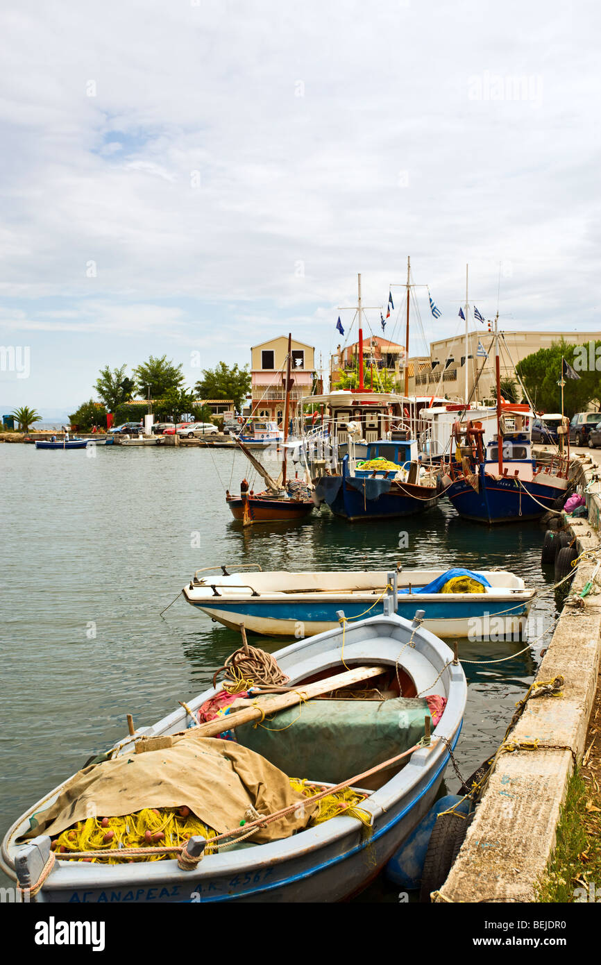 fisher boats at the harbour of Messongi, Corfu, Greece - Stock Image