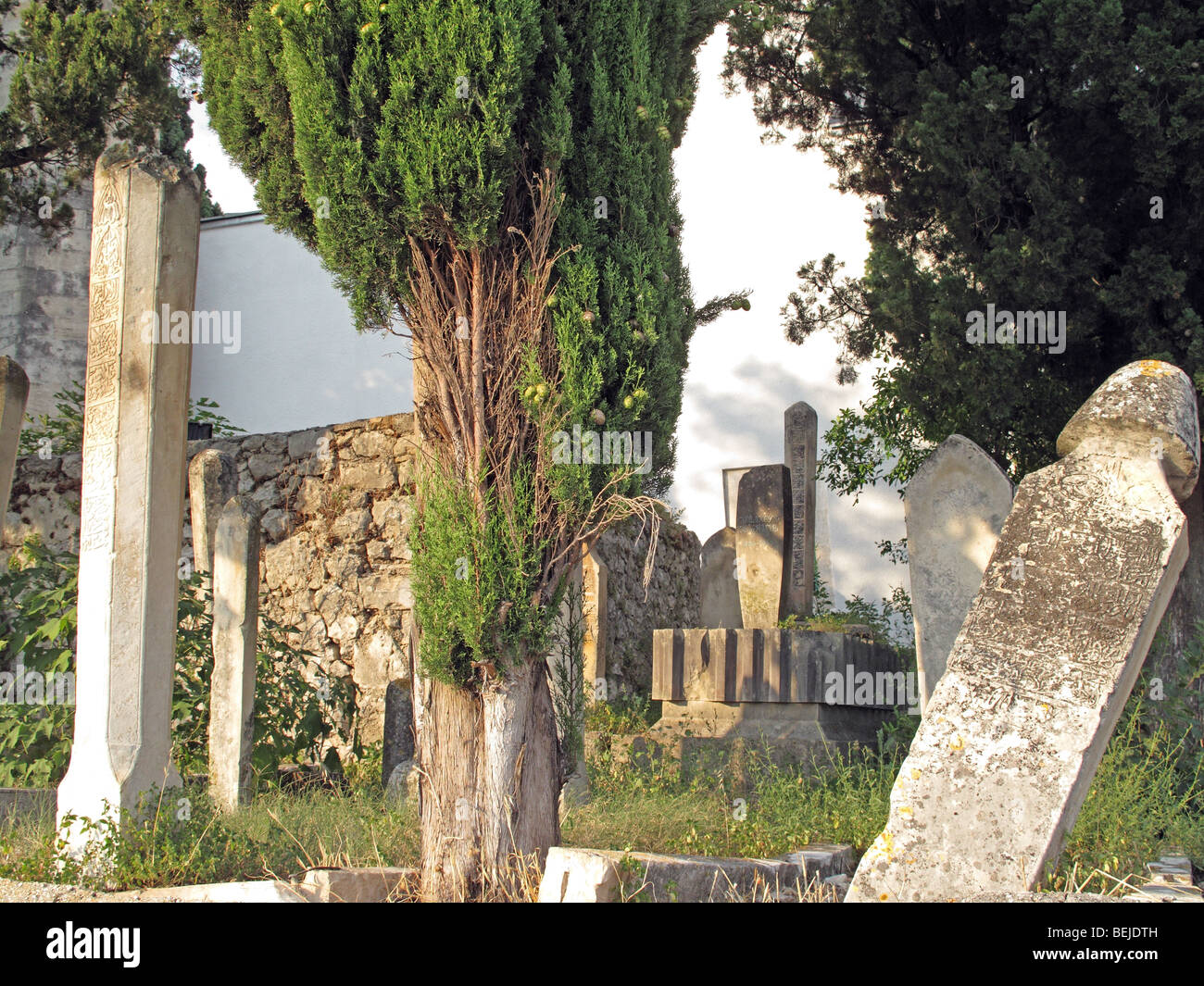 Old Muslim graves with tombstones. - Stock Image