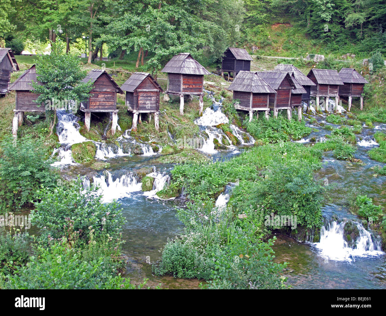 Bosnia and Herzegovina, district of Jajce town. Watermills on the Pliva river. - Stock Image