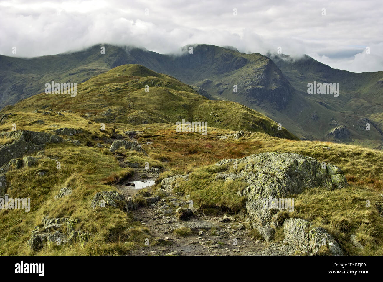 Looking over to Hart Crag and Fairfield from Hartsop Above How in the Lake District. - Stock Image