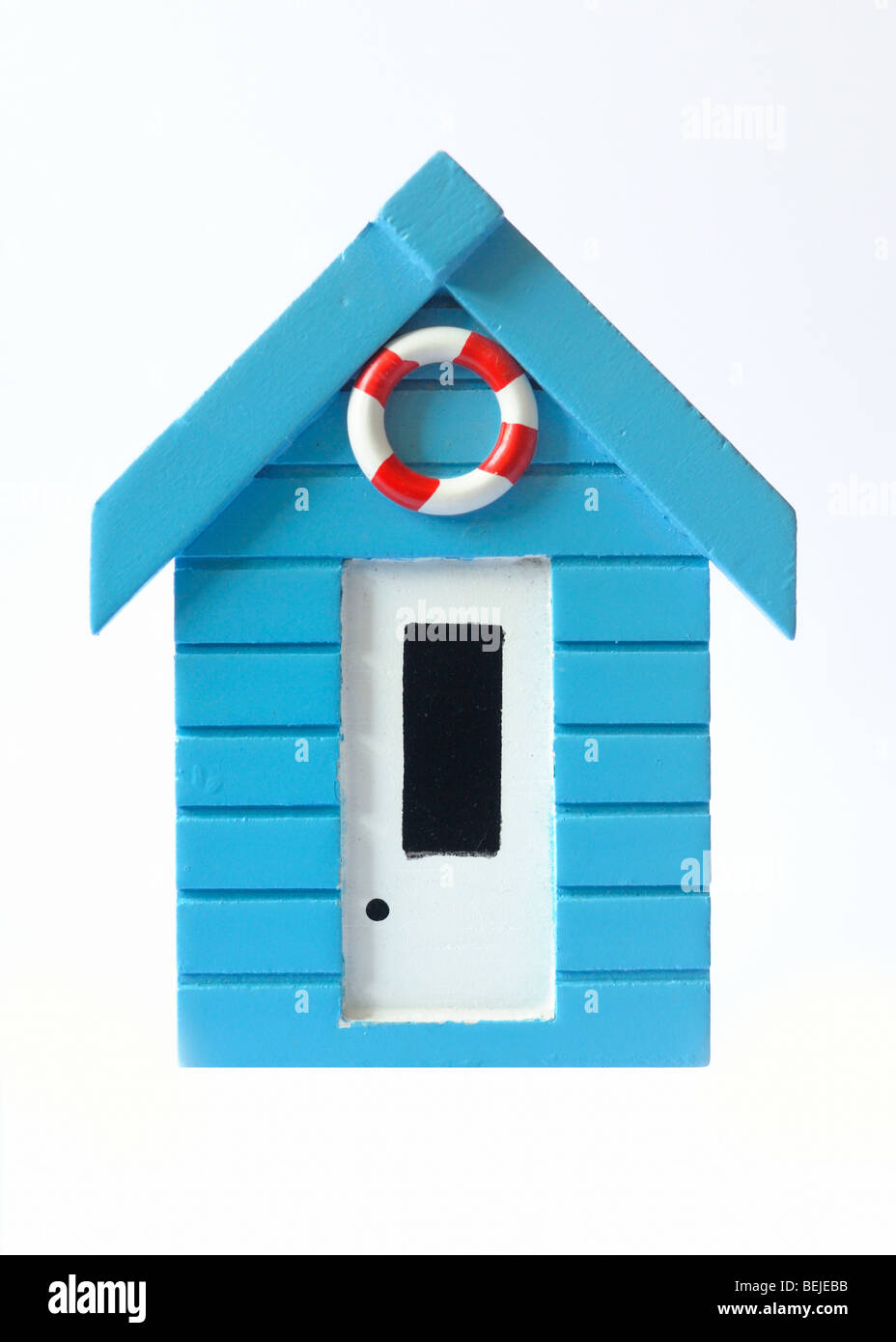 A wooden model of a beach hut - Stock Image
