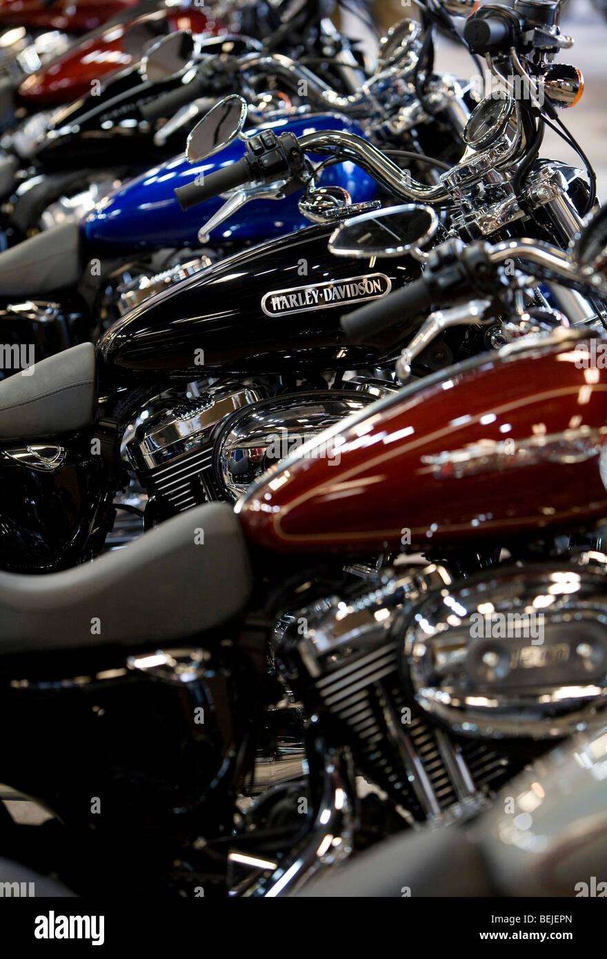 Harley-Davidson Motorcycles on display at a suburban Maryland dealership.  - Stock Image