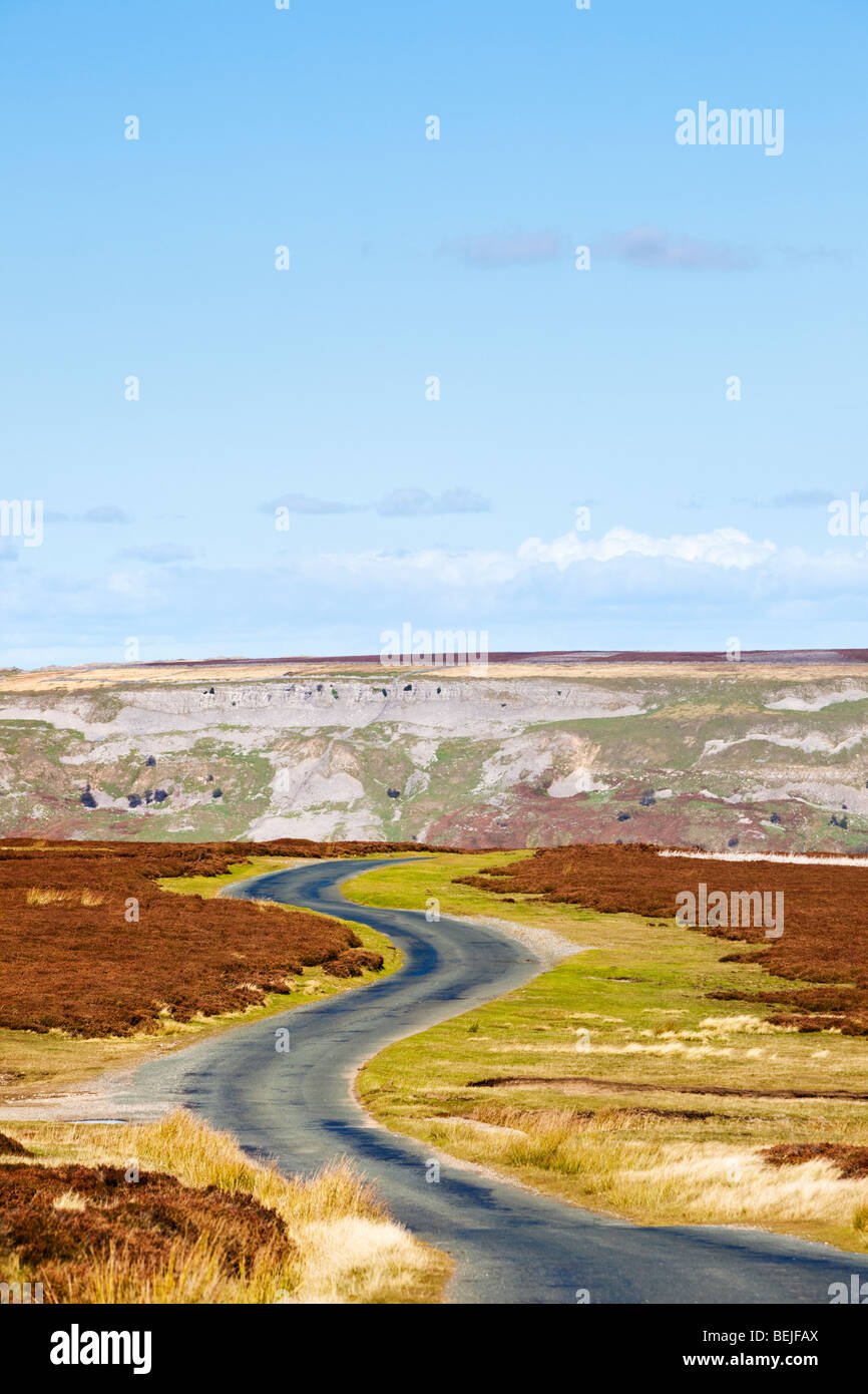 Winding road on Redmire Moor, Yorkshire Dales, England, UK in autumn - Stock Image