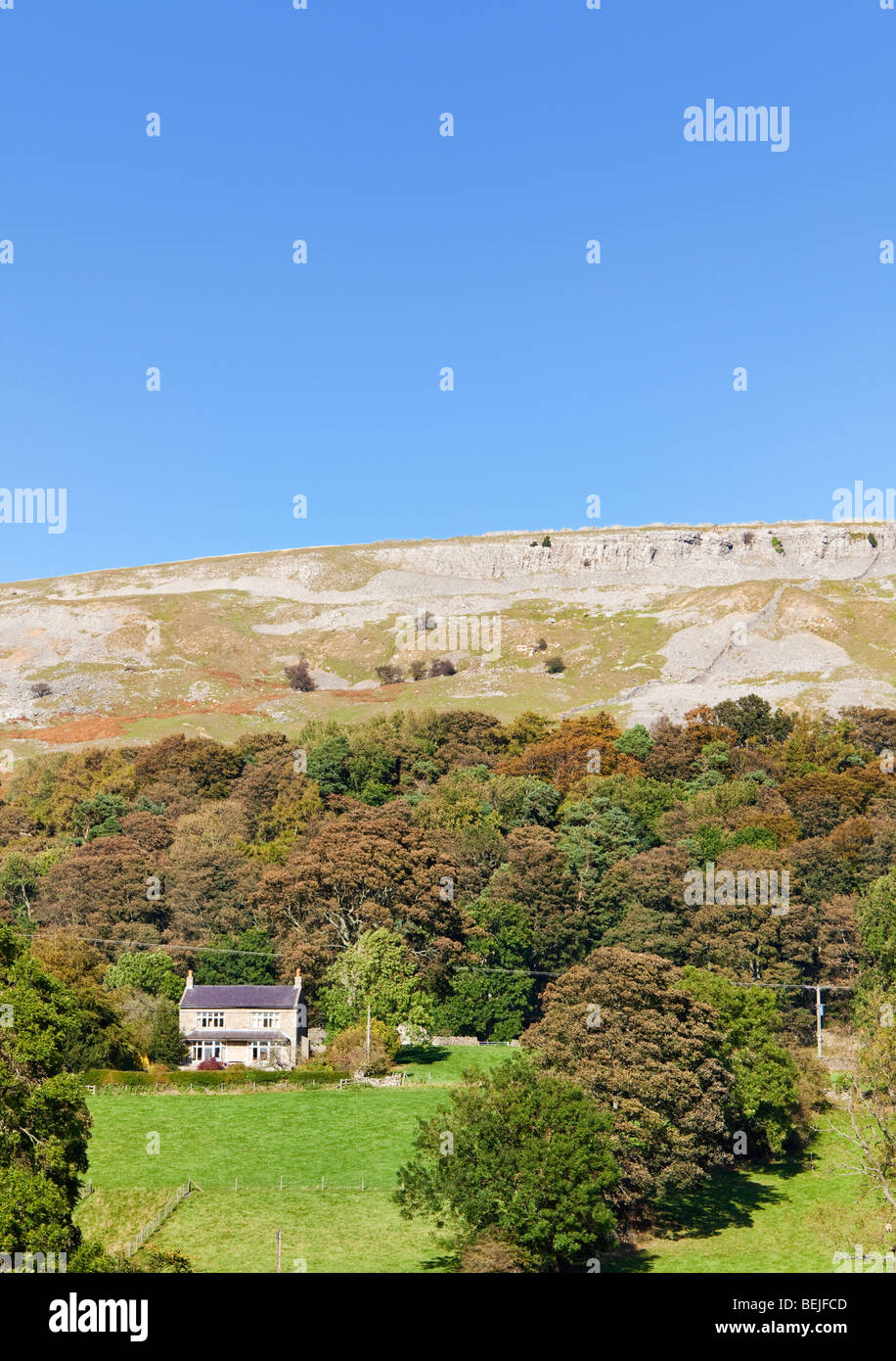 House on hillside under Fremington Edge in Swaledale, Yorkshire Dales, England, UK - Stock Image
