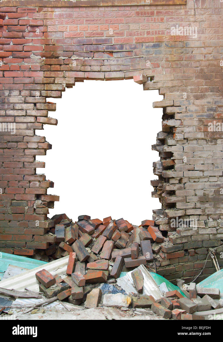Old brick wall with large hole smashed through Stock Photo ...