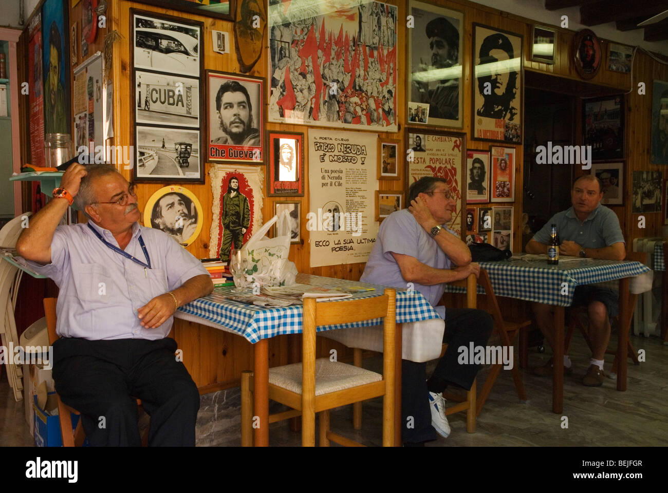 Venice Italy . Members of the Italian Communist Party in their cafe bar. - Stock Image