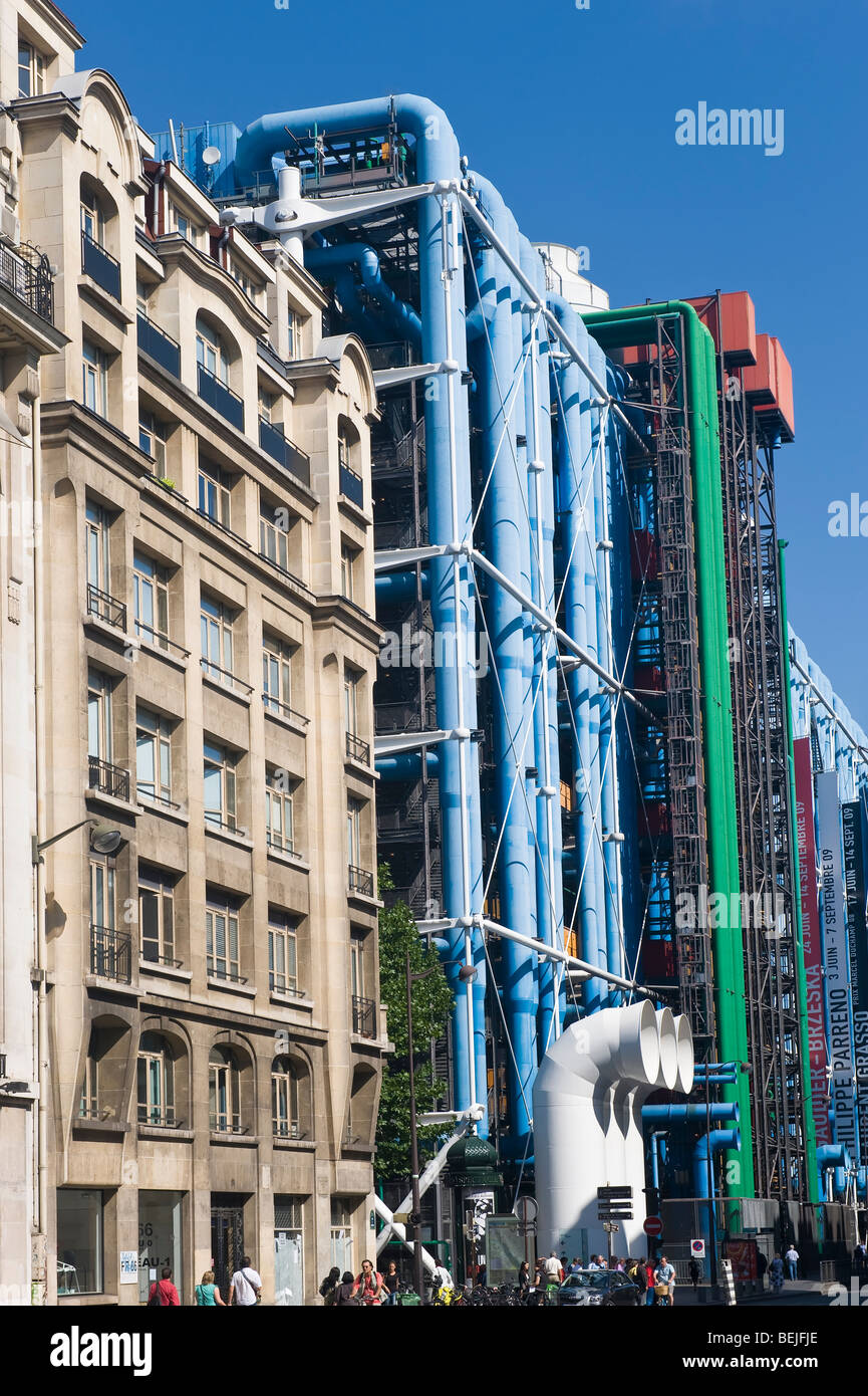 Pompidou Center or Centre Georges Pompidou also known as Beaubourg, Paris, France - Stock Image