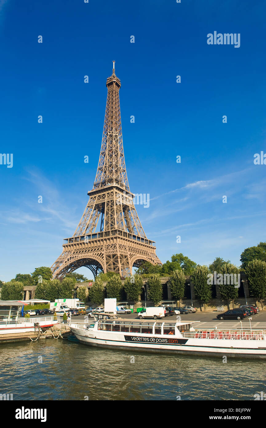 Eiffel Tower viewed from a bateau mouche, Paris, France - Stock Image