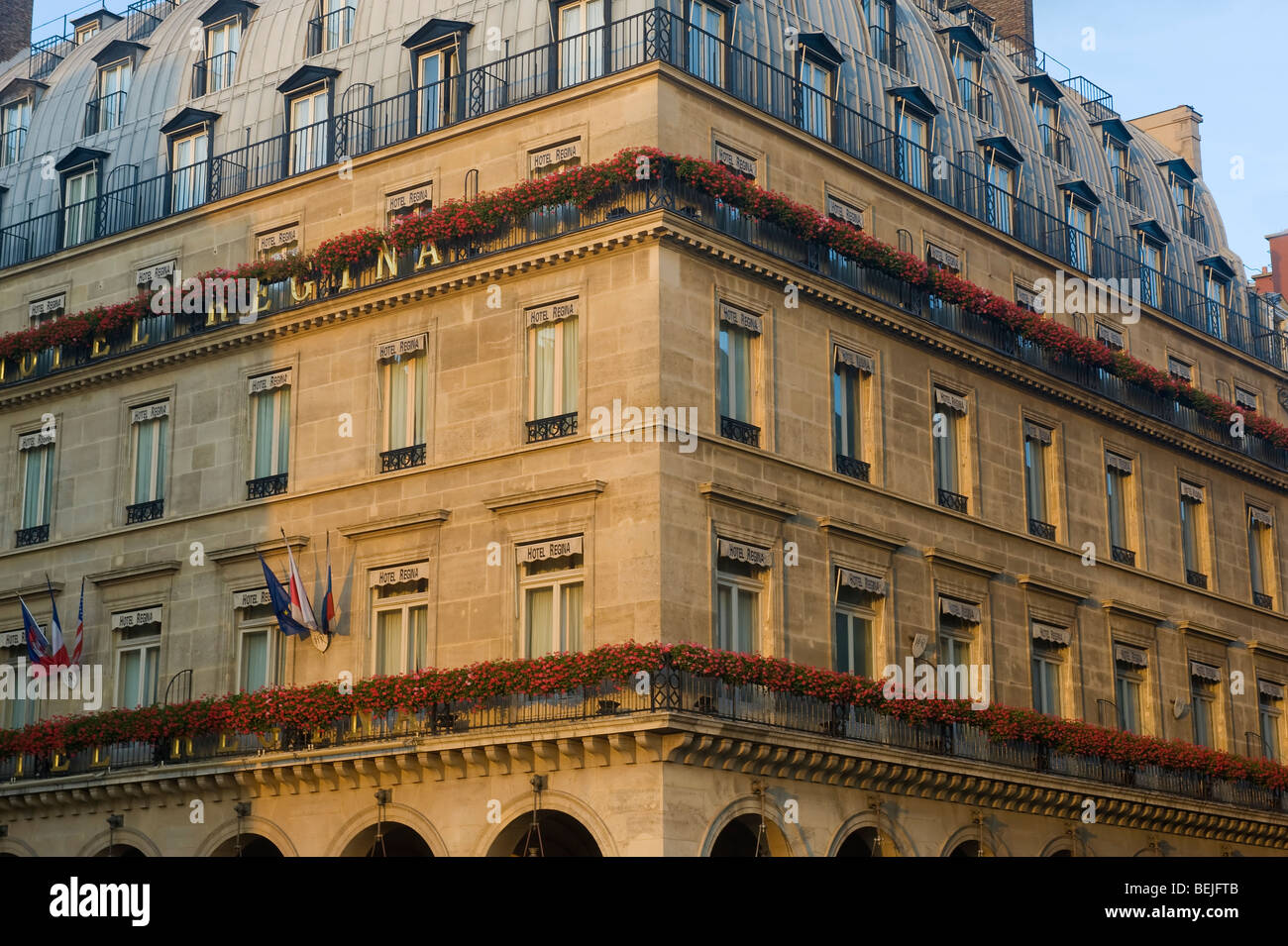 Hotel Facade at Sunset, Paris, France - Stock Image