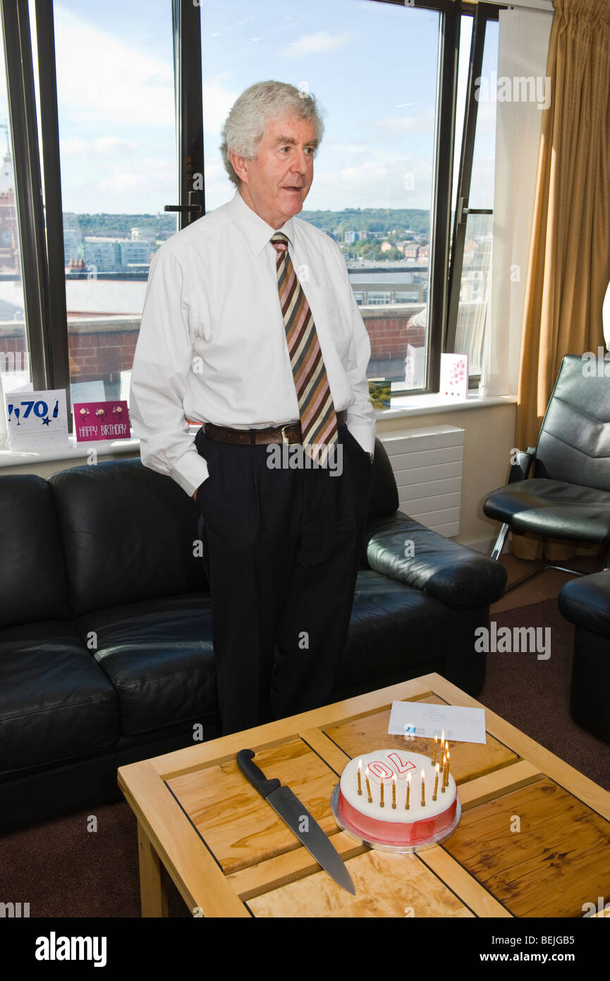 Rhodri Morgan AM First Minister of the National Assembly for Wales celebrates his 70th birthday. - Stock Image