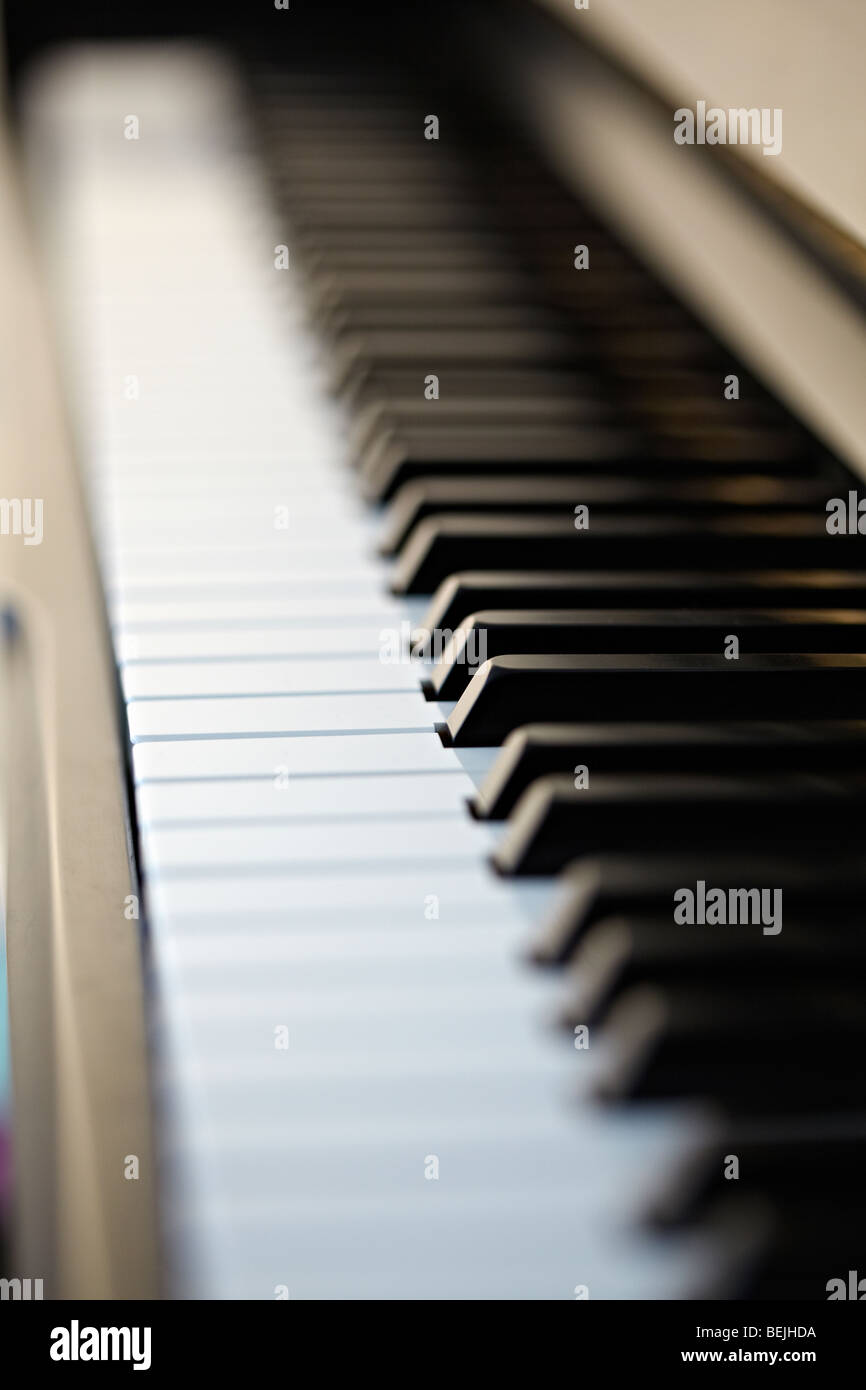Acoustic piano keyboard. Stock Photo